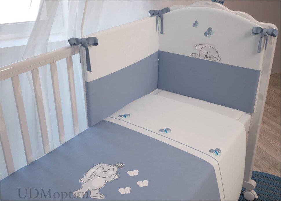 """Комплект в кроватку Polini kids """"Зайки"""" 7 предметов, голубой 120х60 оптом и в розницу"""