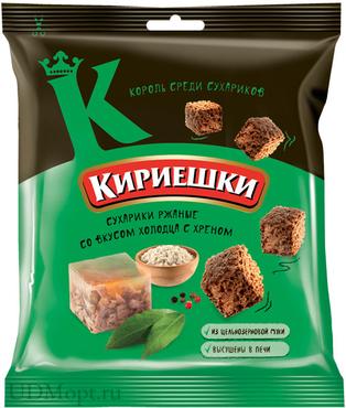 «Кириешки», сухарики со вкусом холодца с хреном, 40г оптом и в розницу