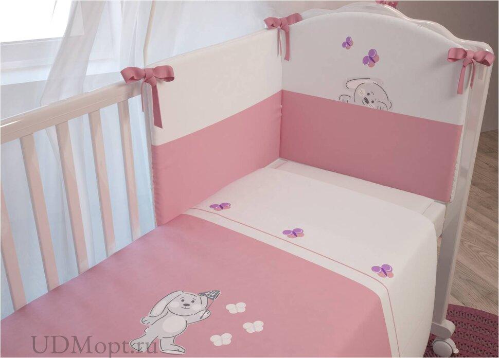"""Комплект в кроватку Polini kids """"Зайки"""" 7 предметов, розовый 120х60 оптом и в розницу"""