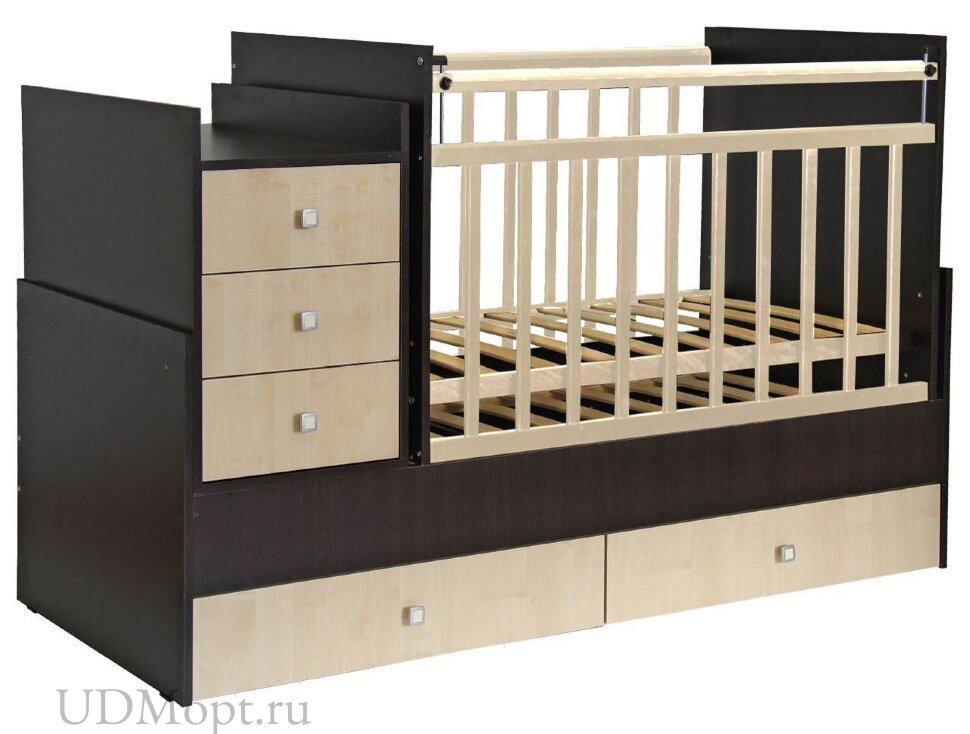 Кроватка детская Фея 1200 венге-клен оптом и в розницу