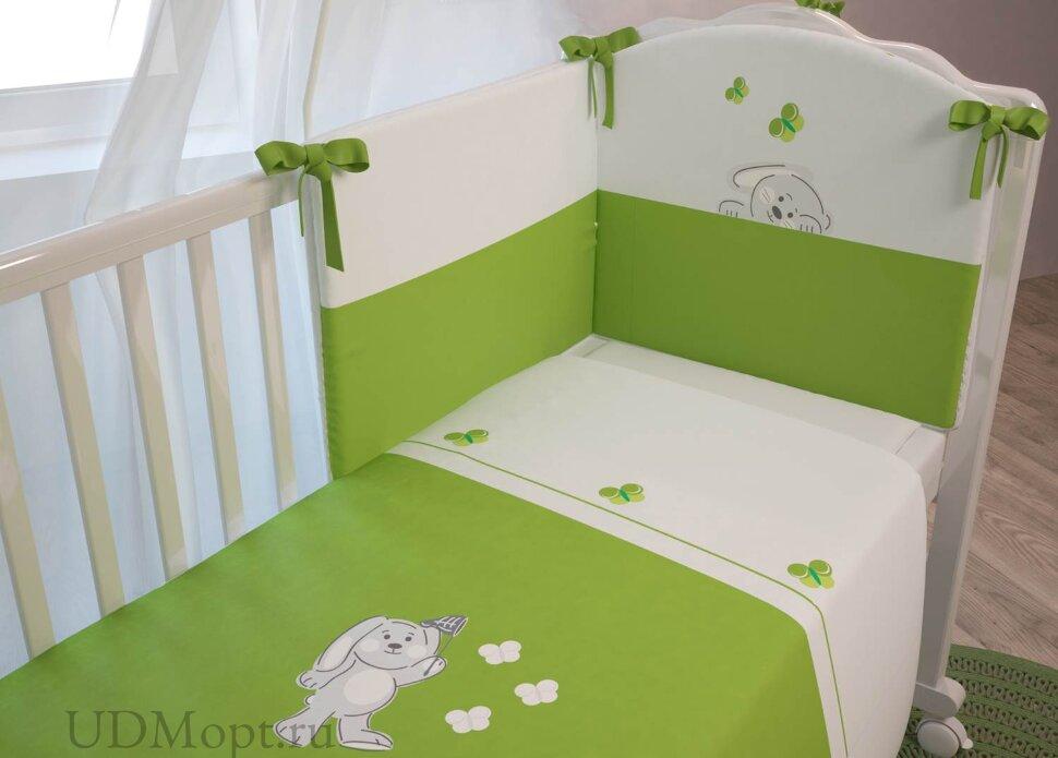 """Комплект в кроватку Polini kids """"Зайки"""" 7 предметов, зеленый 120х60 оптом и в розницу"""