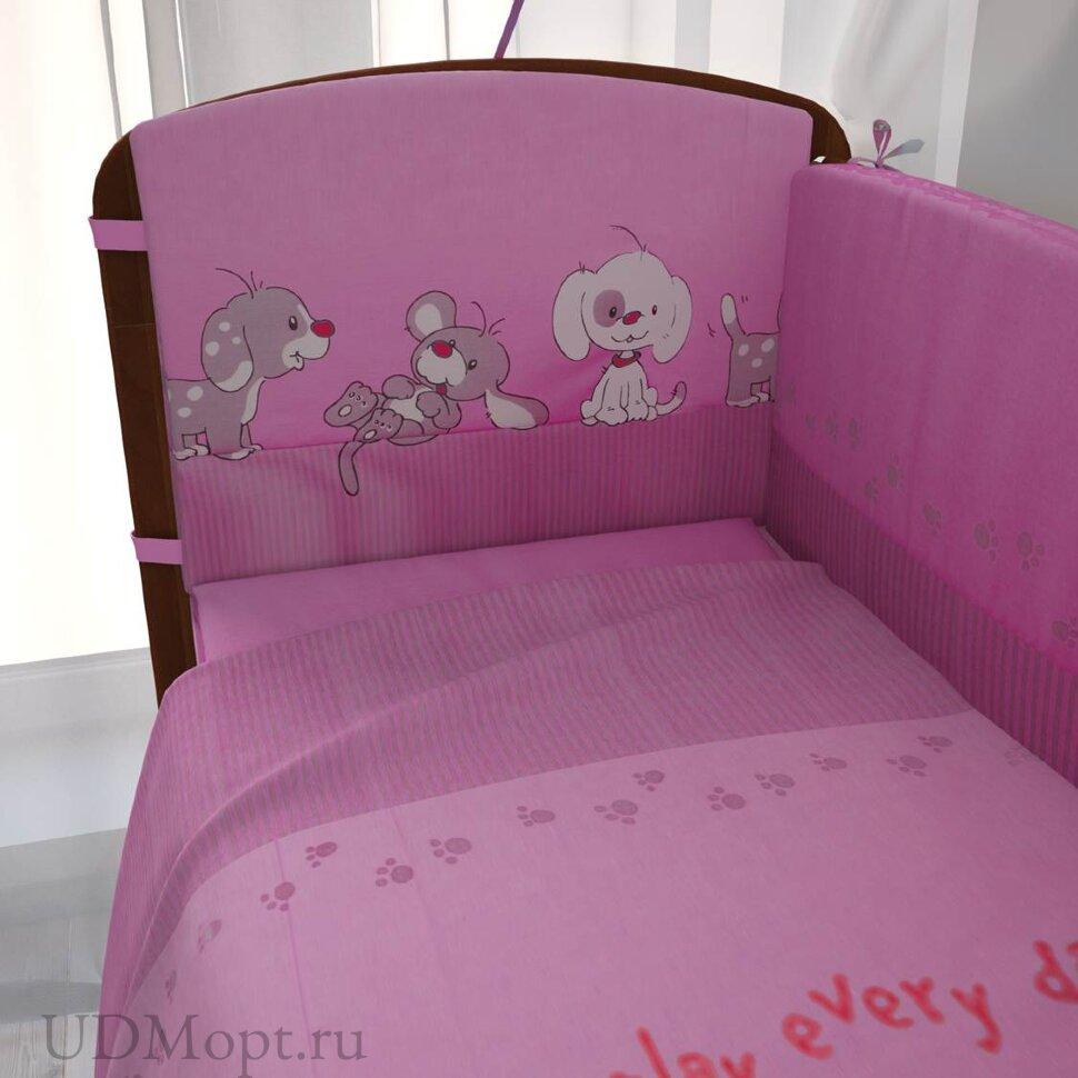 """Комплект в кроватку """"Веселая игра"""" 7предметов, розовый оптом и в розницу"""