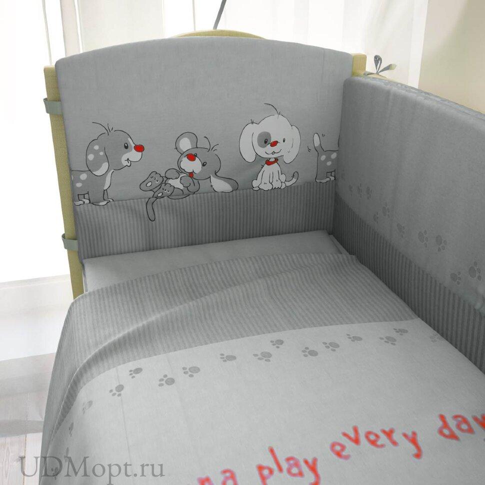 """Комплект в кроватку """"Веселая игра"""" 7предметов, серый оптом и в розницу"""