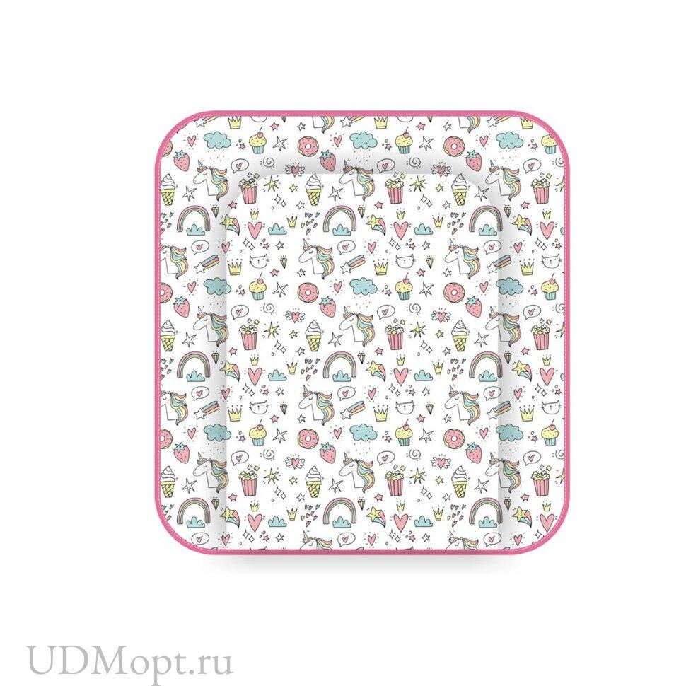 Матрас для пеленания Polini kids Единорог Сладости на комод, 77х72 см, розовый оптом и в розницу