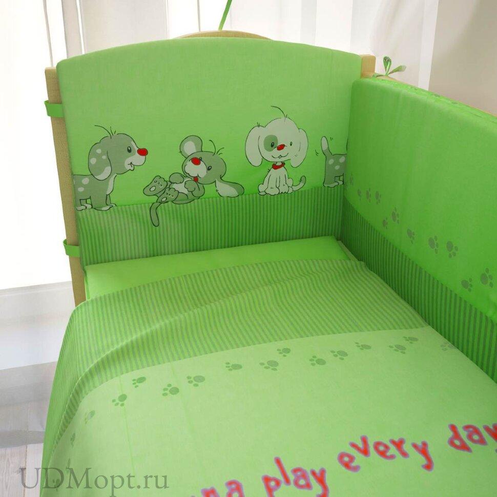 """Комплект в кроватку """"Веселая игра"""" 7предметов, зеленый оптом и в розницу"""