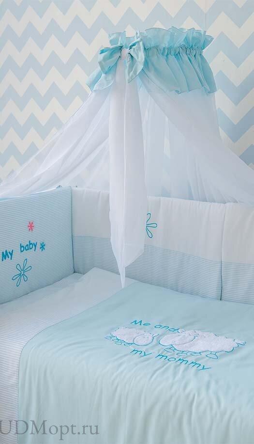 """Комплект в кроватку 140*70 Fairy  """"Белые кудряшки"""" 7 предметов оптом и в розницу"""
