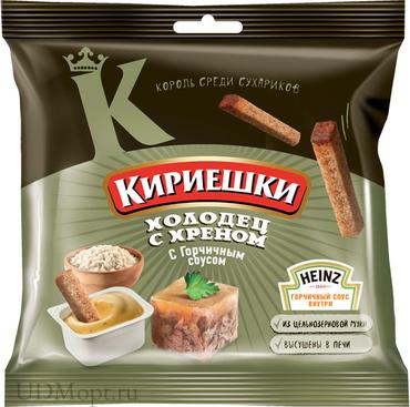 «Кириешки», сухарики со вкусом холодца с хреном и горчичным соусом  «Heinz», 85г оптом и в розницу