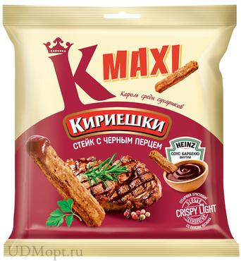 «Кириешки Maxi», сухарики со вкусом стейка с черным перцем и соусом барбекю, 80г оптом и в розницу