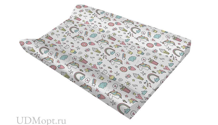 Доска пеленальная для комода с ванночкой Polini kids Basic 3275, Единорог Сладости, белый-розовый оптом и в розницу