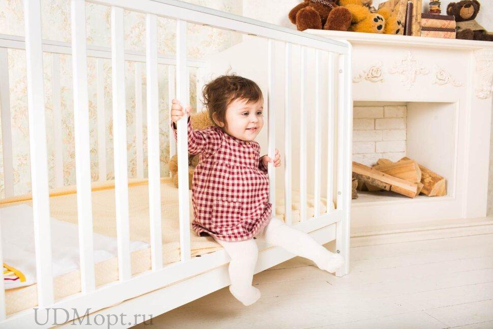 Кроватка детская Polini kids Basic Джунгли 140х70 белый-оранжевый  оптом и в розницу