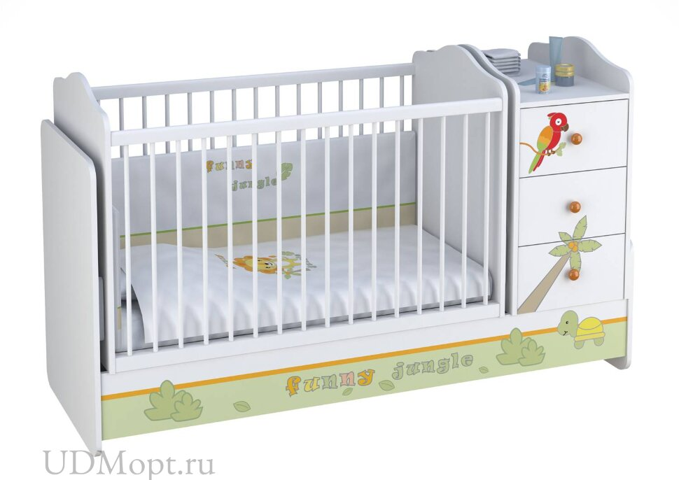 Кроватка детская Polini kids Basic Джунгли с комодом, белый-оранжевый оптом и в розницу