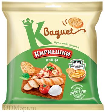 «Кириешки Baguet», сухарики со вкусом пиццы и сырным соусом, 75г оптом и в розницу