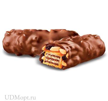 Вафли с изюмом и арахисом, в молочно-шоколадной глазури (коробка 2кг) оптом и в розницу