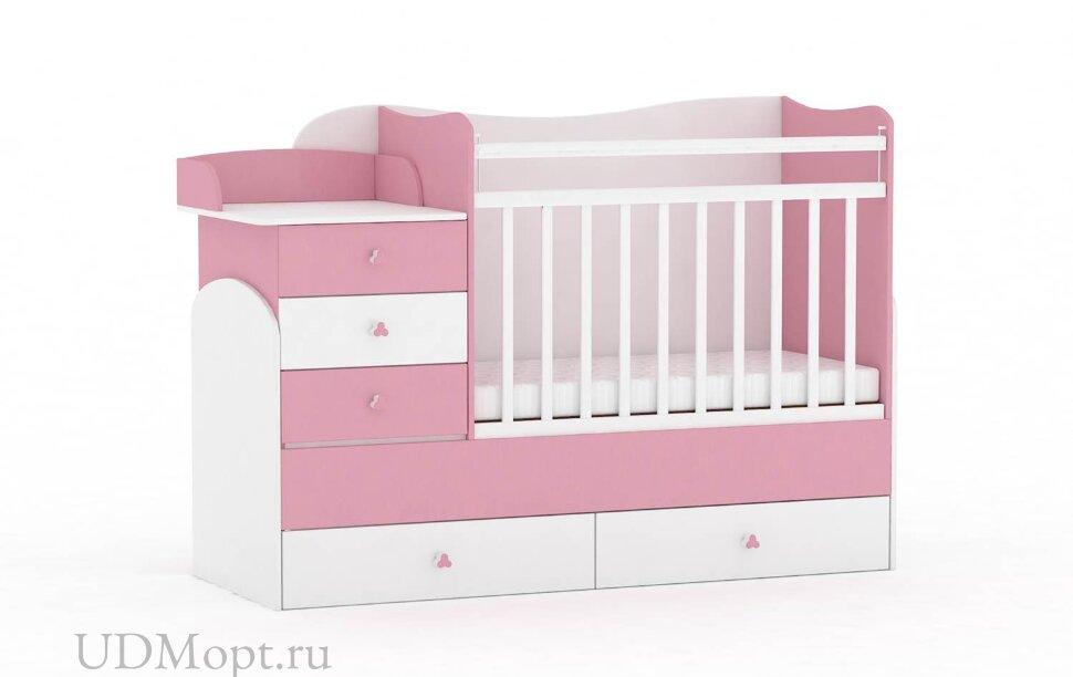 Кровать детская Фея 1400 белый-роза оптом и в розницу