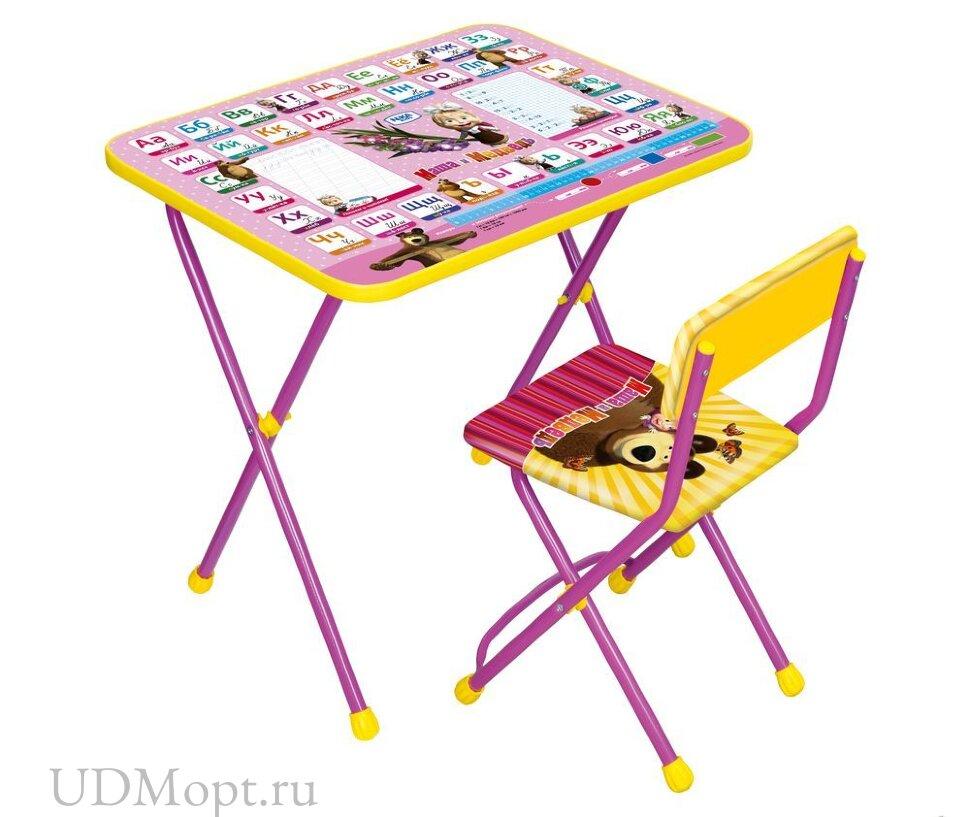 Комплект детской мебели Nika Маша и медведь КП2 с мягким сиденьем оптом и в розницу
