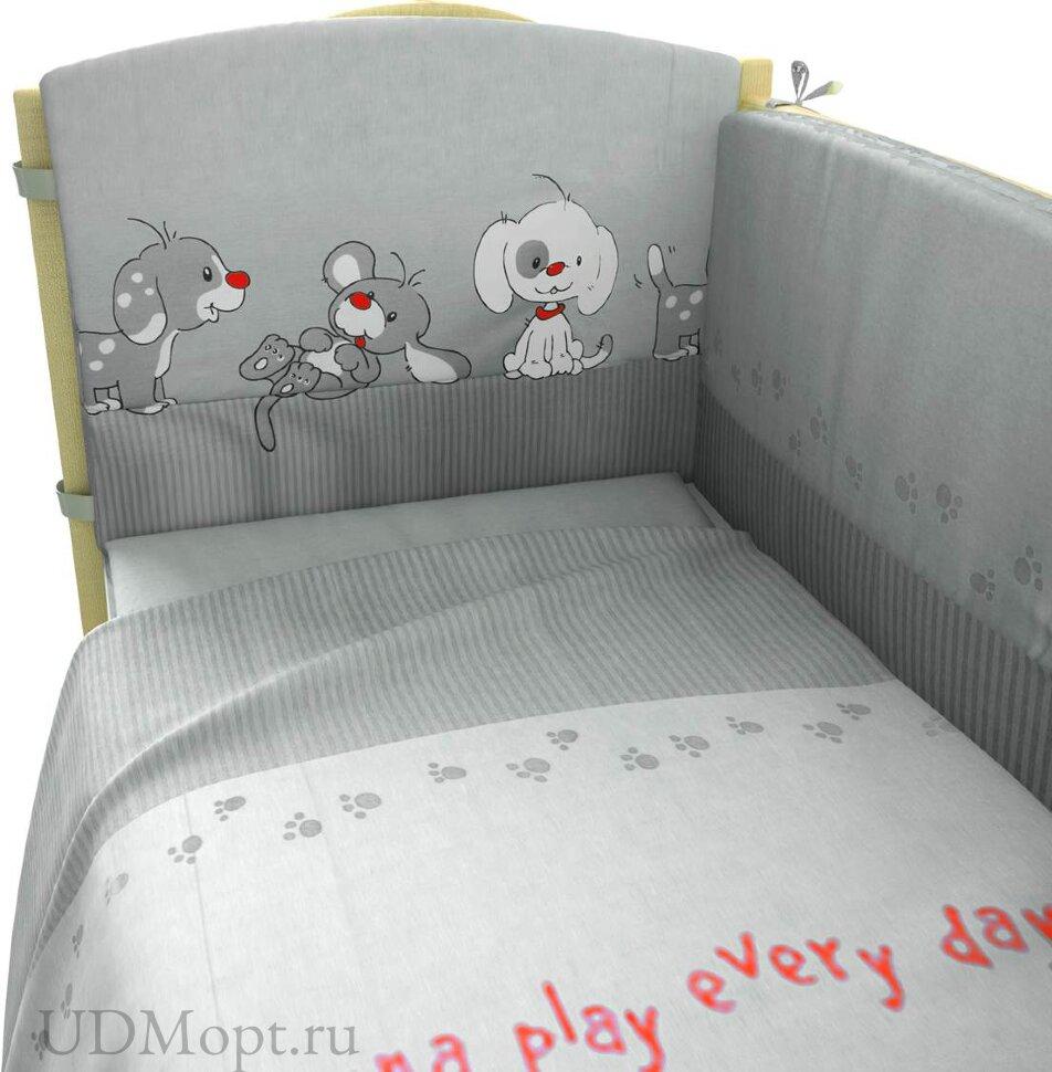 """Комплект в кроватку 140*70 """"Веселая игра"""" 7пр. серый оптом и в розницу"""