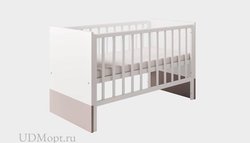 Кроватка детская Polini kids Classic 140х70см, белый снег - макиато оптом и в розницу