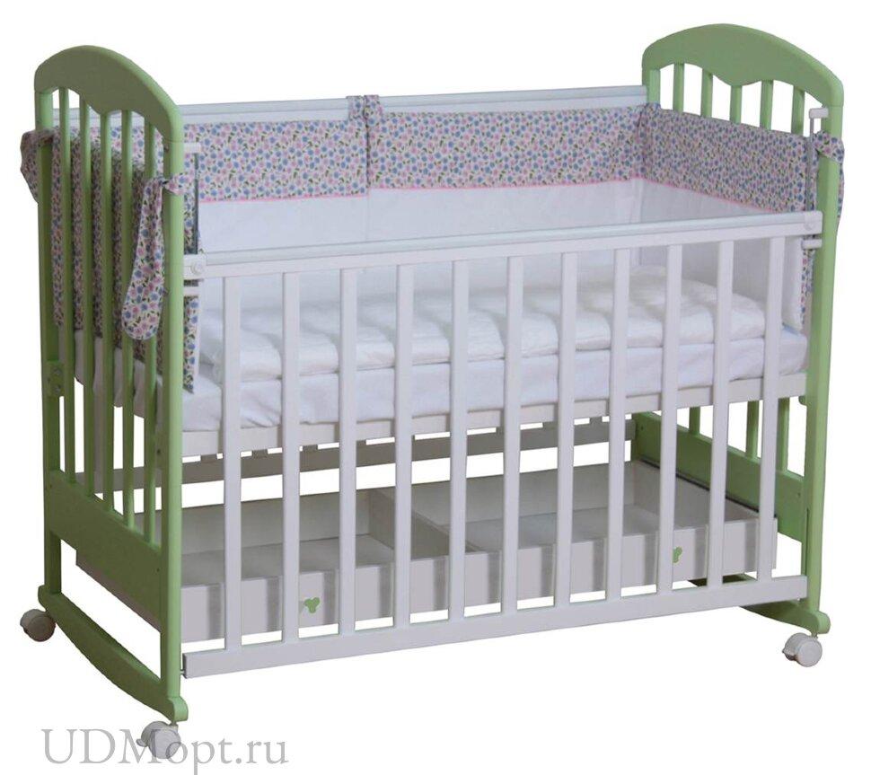 Кровать детская Фея 325 белый-мята оптом и в розницу