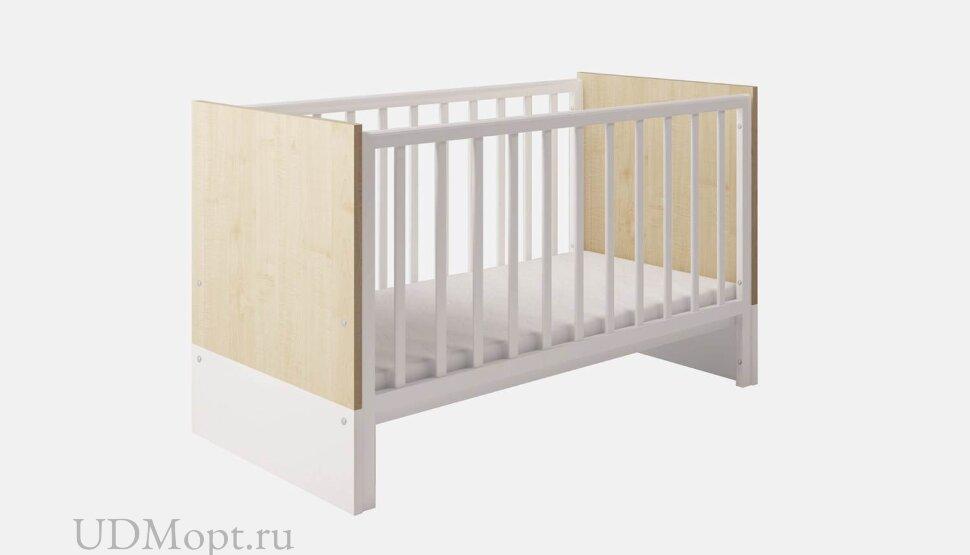 Кроватка детская Polini kids Classic 140х70см, дуб - белый глянец оптом и в розницу