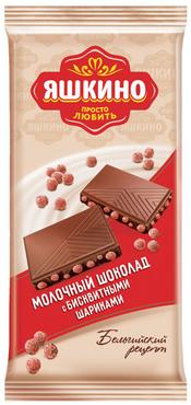 «Яшкино», шоколад молочный с бисквитными шариками, 85г оптом и в розницу