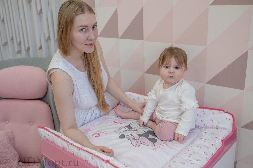 Матрас для пеленания Polini Kids Disney baby Минни Маус Фея, 77х72 см, розовый оптом и в розницу