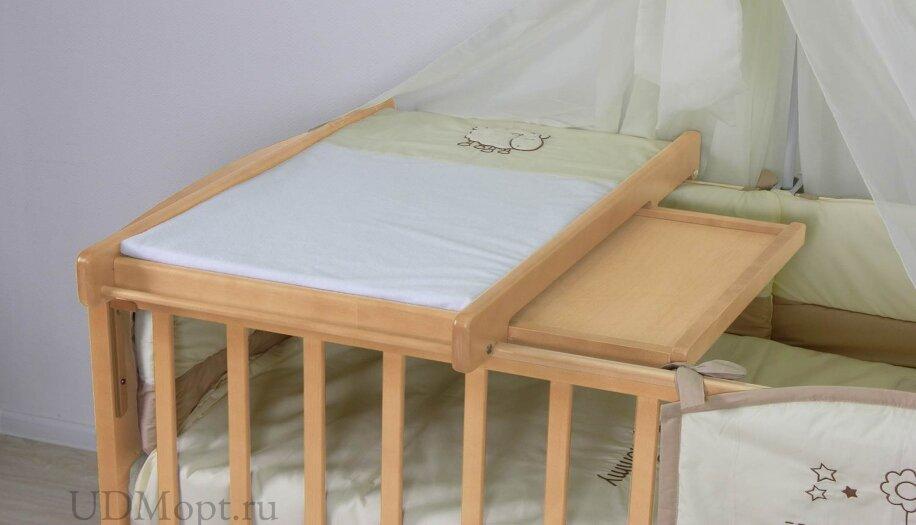 Доска пеленальная Polini kids для детских кроватей, с полкой, натуральный оптом и в розницу