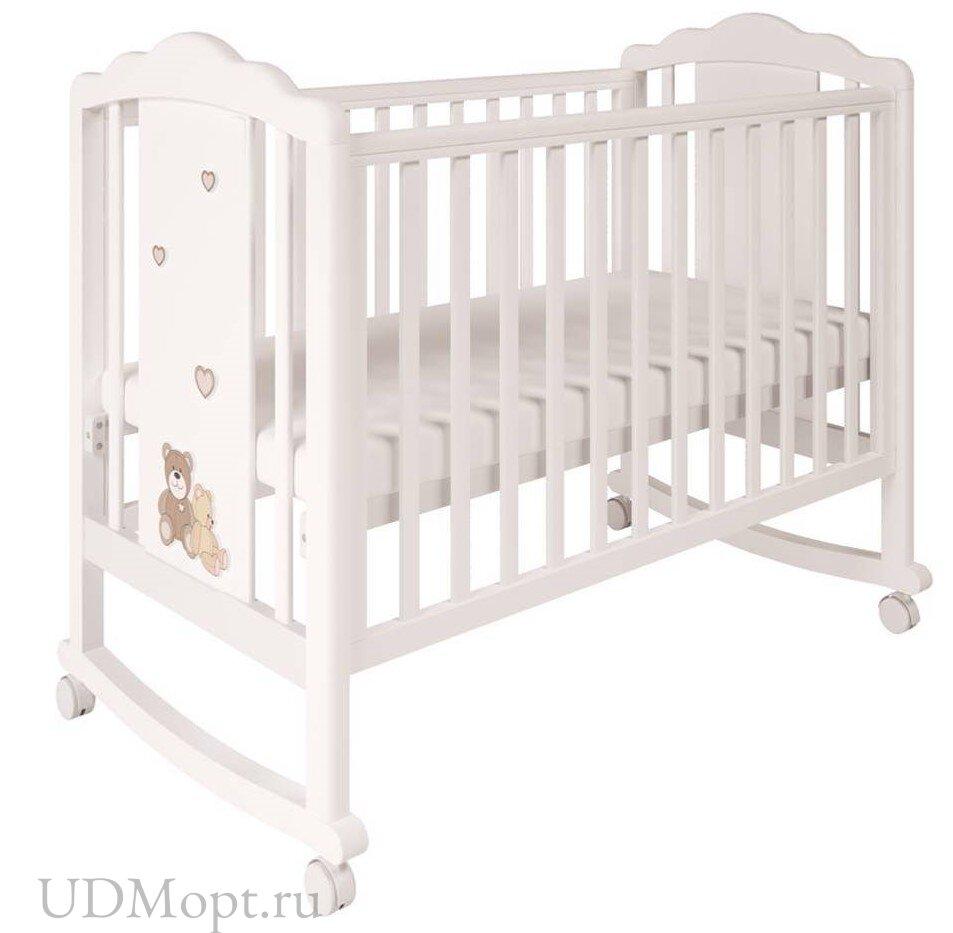 Кроватка детская Polini kids Classic 621 Плюшевые Мишки белый-макиато оптом и в розницу