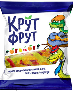 «КрутФрут», мармелад жевательный в виде забавных змеек, 70г оптом и в розницу