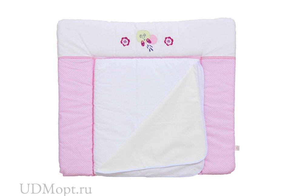 Доска пеленальная Polini kids Joy Весенняя мелодия, мягкая с вышивкой, 85х75 см, розовый оптом и в розницу