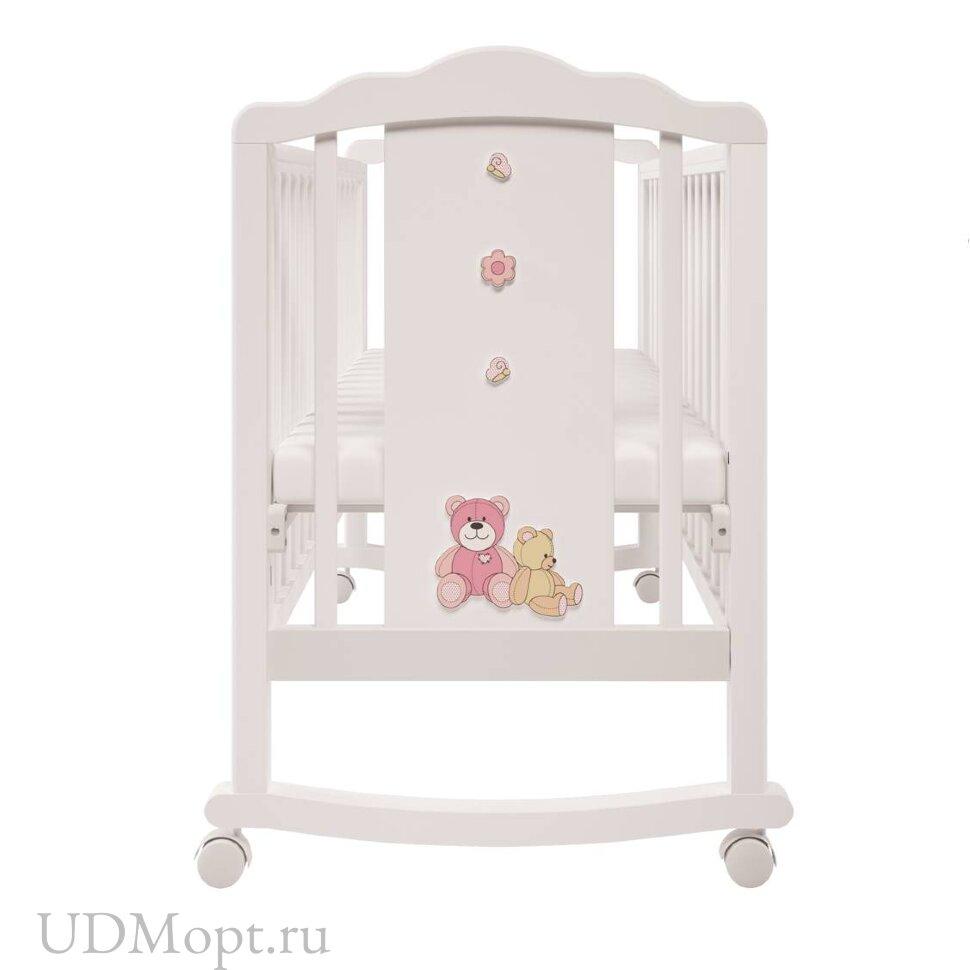 Кроватка детская Polini kids Classic 621 Плюшевые Мишки белый-розовый оптом и в розницу