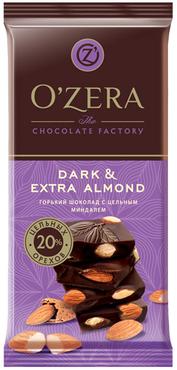 «OZera», шоколад горький с цельным миндалем Dark & Extra Almond, 90г оптом и в розницу