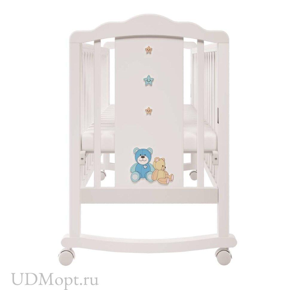 Кроватка детская Polini kids Classic 621 Плюшевые Мишки белый-синий капри оптом и в розницу