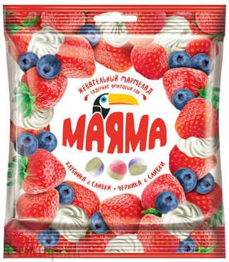 «Маяма», мармелад жевательный со вкусами клубники и черники со сливками, 70г оптом и в розницу