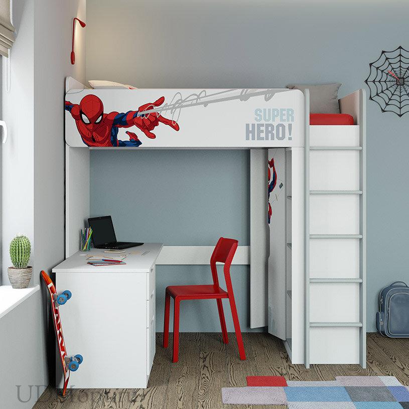 Кровать-чердак Polini kids Marvel 4355 Человек паук, с письменным столом и шкафом, белый оптом и в розницу