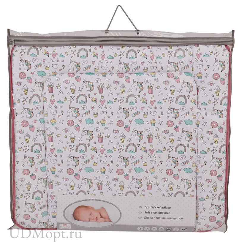 Доска пеленальная Polini kids мягкая на комод  Единорог Сладости, 77х72см, розовый оптом и в розницу
