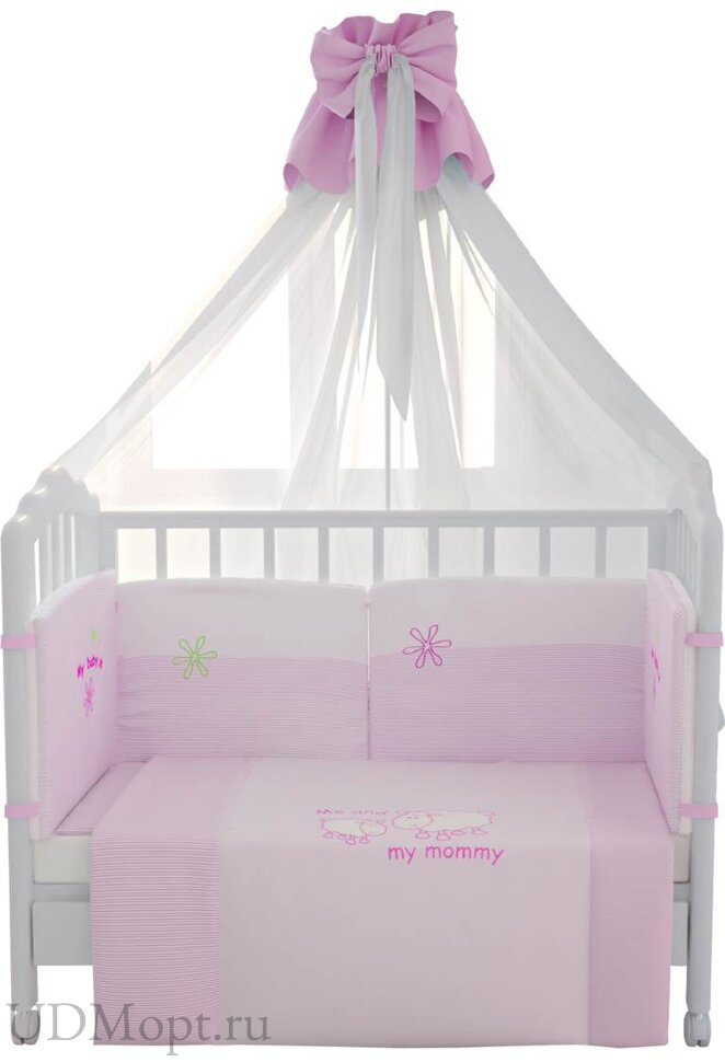 """Комплект в кроватку Fairy """"Белые кудряшки"""" 7 предметов, розовый оптом и в розницу"""