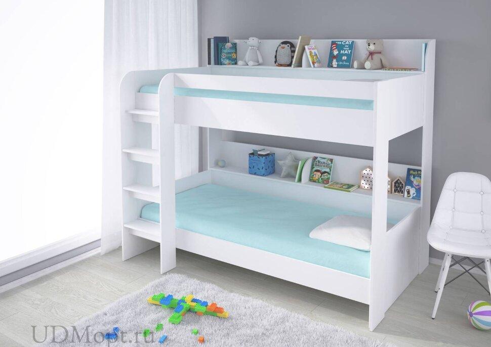 Кровать 2-х ярусная Polini kids Simple 5000, белый оптом и в розницу