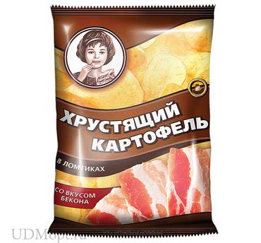 «Хрустящий картофель», чипсы со вкусом бекона, произведены из свежего картофеля, 40г оптом и в розницу