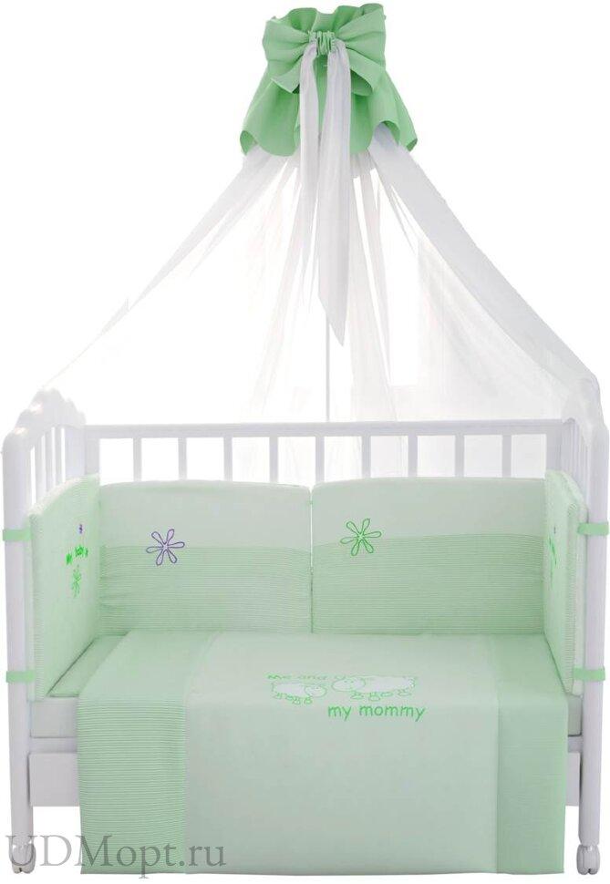 """Комплект в кроватку Fairy """"Белые кудряшки"""" 7 предметов, зеленый оптом и в розницу"""