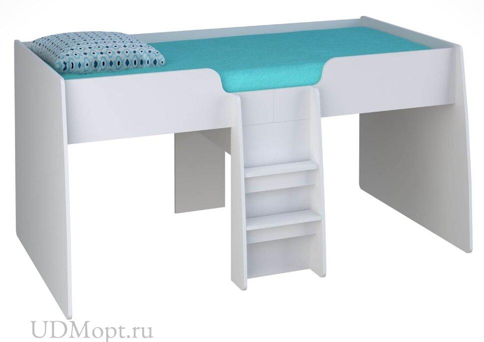 Кровать-чердак детская Polini kids Simple 4100 с выдвижными элементами, белый оптом и в розницу