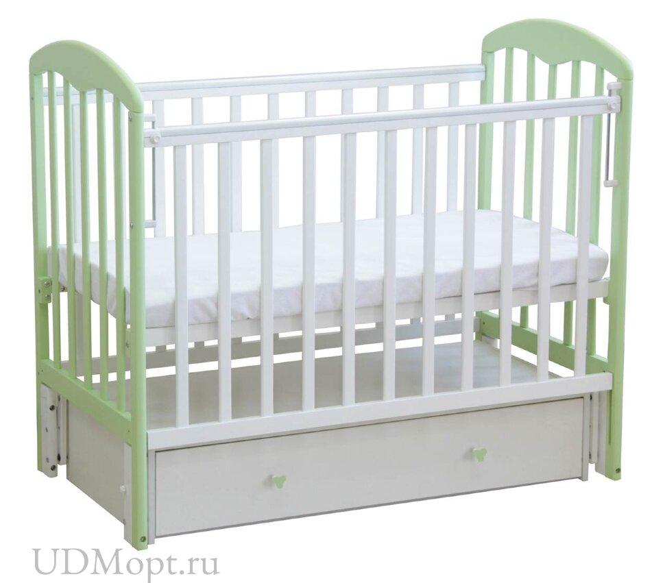 Кровать детская Фея 328 белый-мята оптом и в розницу