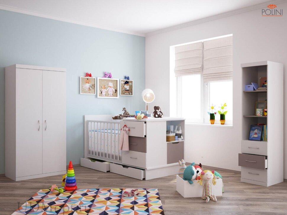 Кроватка детская Polini kids classic белый снег-макиато оптом и в розницу