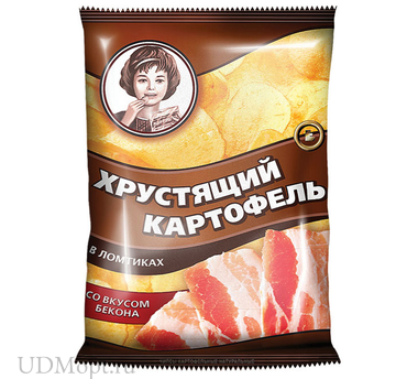 «Хрустящий картофель», чипсы со вкусом бекона, произведены из свежего картофеля, 70г оптом и в розницу