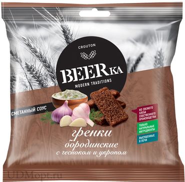 «Beerka», сухарики со вкусом чеснока с укропом и сметанным соусом, 85г оптом и в розницу