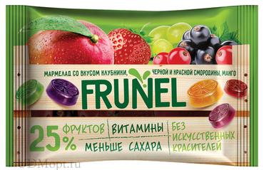 «Frunel», мармелад со вкусом клубники, чёрной и красной смородины, манго, винограда, 40г оптом и в розницу