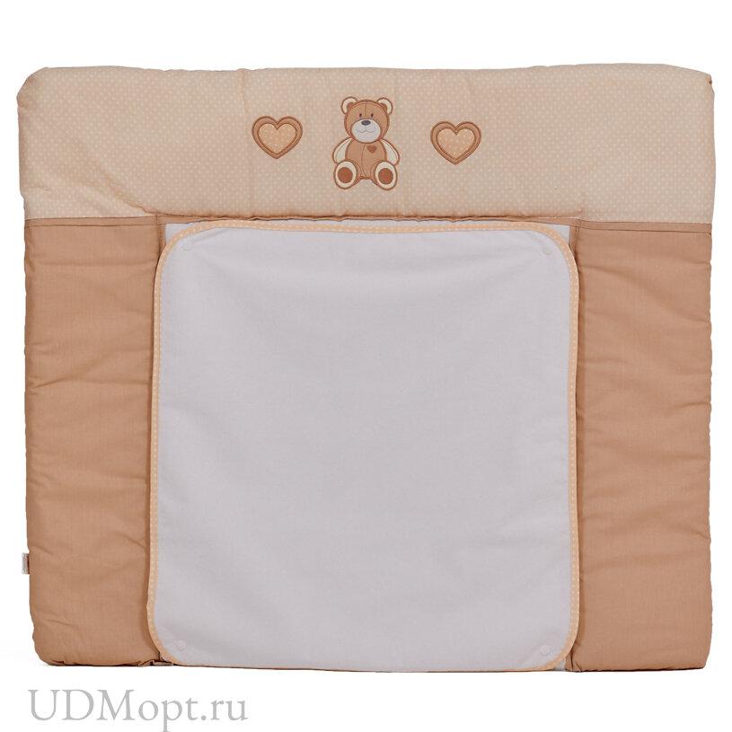 Доска пеленальная Polini kids Плюшевые мишки, мягкая с вышивкой, 85х75см, макиато оптом и в розницу