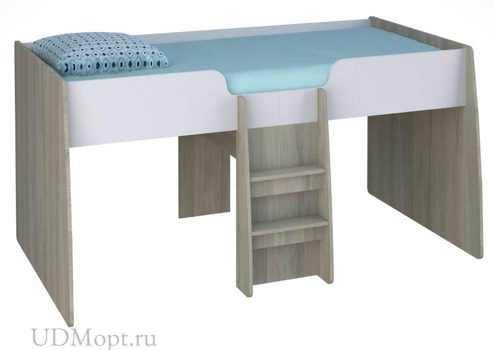 Кровать-чердак детская Polini kids Simple 4100 с выдвижными элементами, вяз-белый оптом и в розницу