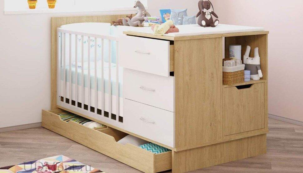 Кроватка детская Polini kids classic дуб-белый глянец оптом и в розницу