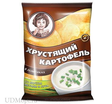 «Хрустящий картофель», чипсы со вкусом сметаны и лука, произведены из свежего картофеля, 40г оптом и в розницу