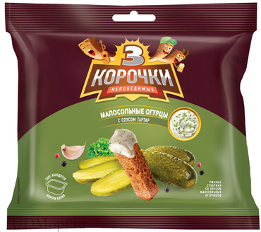 «3 Корочки», сухарики со вкусом малосольных огурчиков и соусом тар-тар, 85г оптом и в розницу
